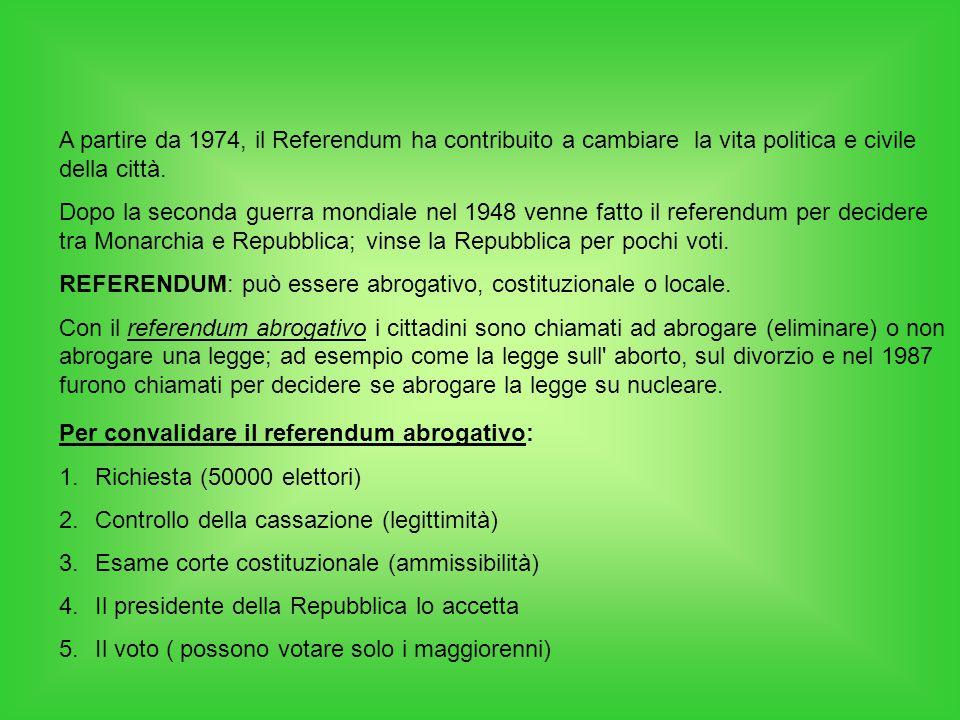 A partire da 1974, il Referendum ha contribuito a cambiare la vita politica e civile della città.