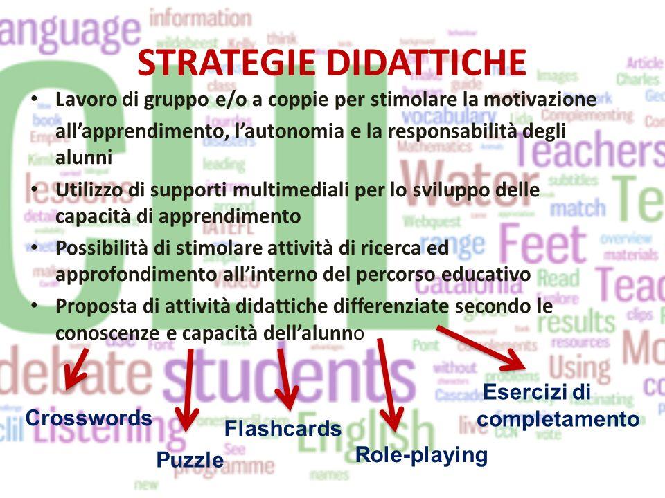 STRATEGIE DIDATTICHE Lavoro di gruppo e/o a coppie per stimolare la motivazione. all'apprendimento, l'autonomia e la responsabilità degli alunni.