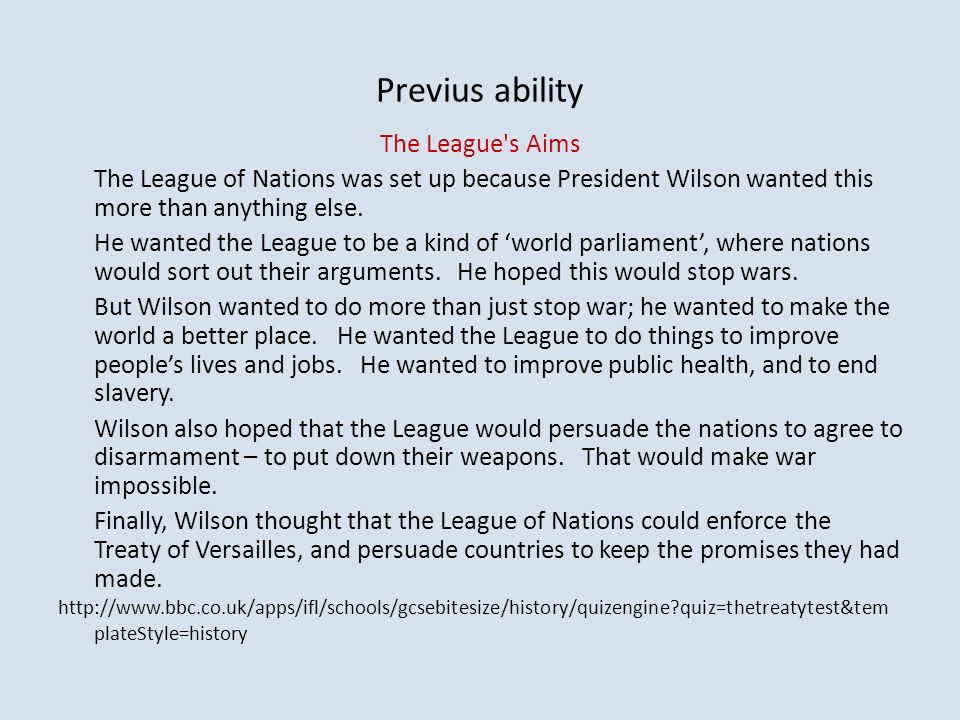 Previus ability The League s Aims