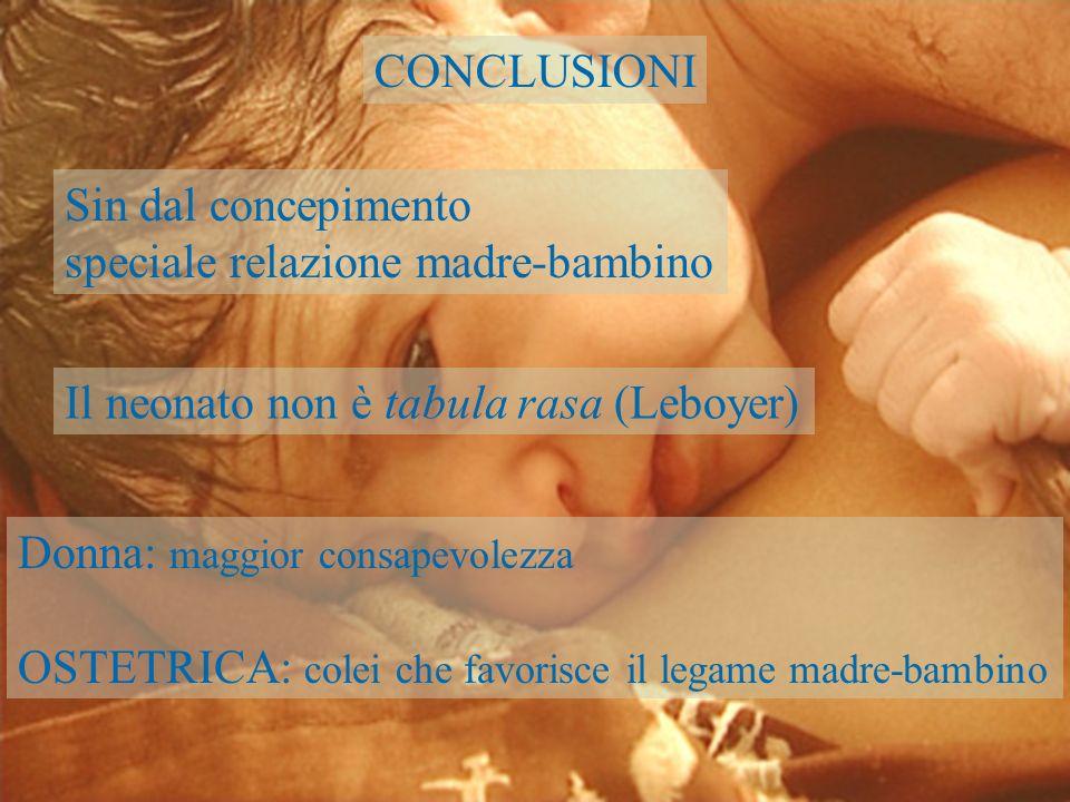 CONCLUSIONI Sin dal concepimento. speciale relazione madre-bambino. Il neonato non è tabula rasa (Leboyer)