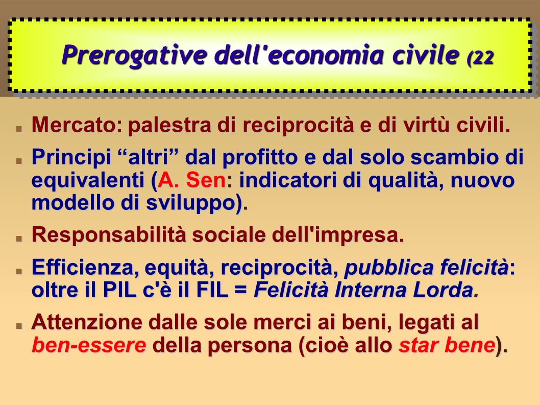 Prerogative dell economia civile (22