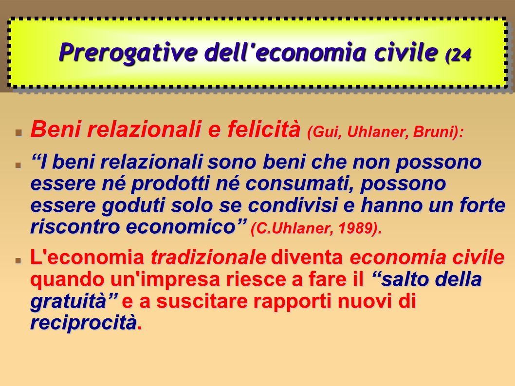 Prerogative dell economia civile (24
