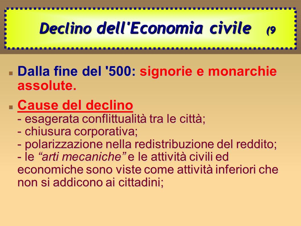 Declino dell Economia civile (9
