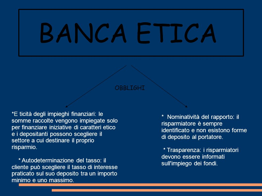 BANCA ETICA OBBLIGHI.