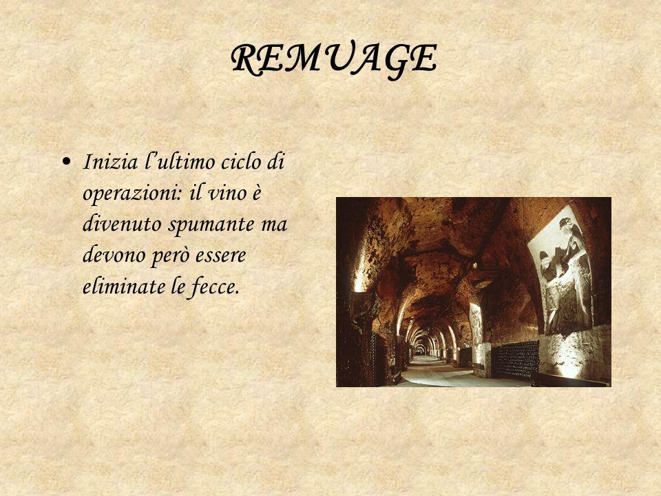REMUAGE Inizia l'ultimo ciclo di operazioni: il vino è divenuto spumante ma devono però essere eliminate le fecce.
