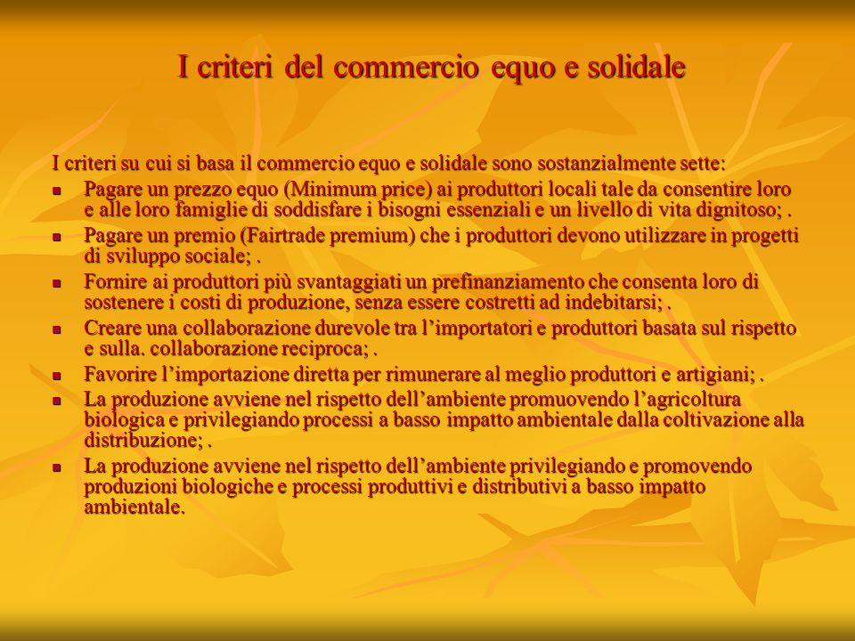 I criteri del commercio equo e solidale