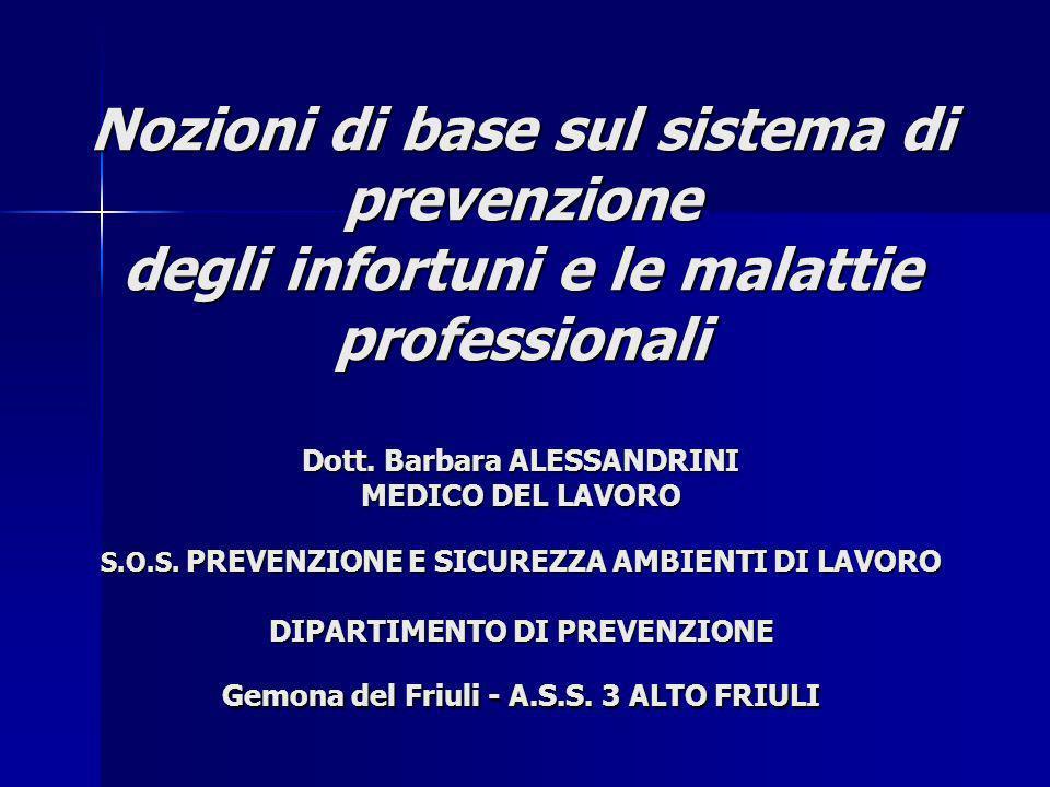 Nozioni di base sul sistema di prevenzione degli infortuni e le malattie professionali Dott.