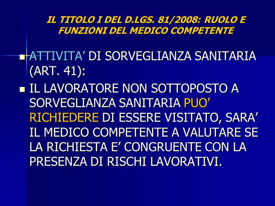 IL TITOLO I DEL D.LGS. 81/2008: RUOLO E FUNZIONI DEL MEDICO COMPETENTE