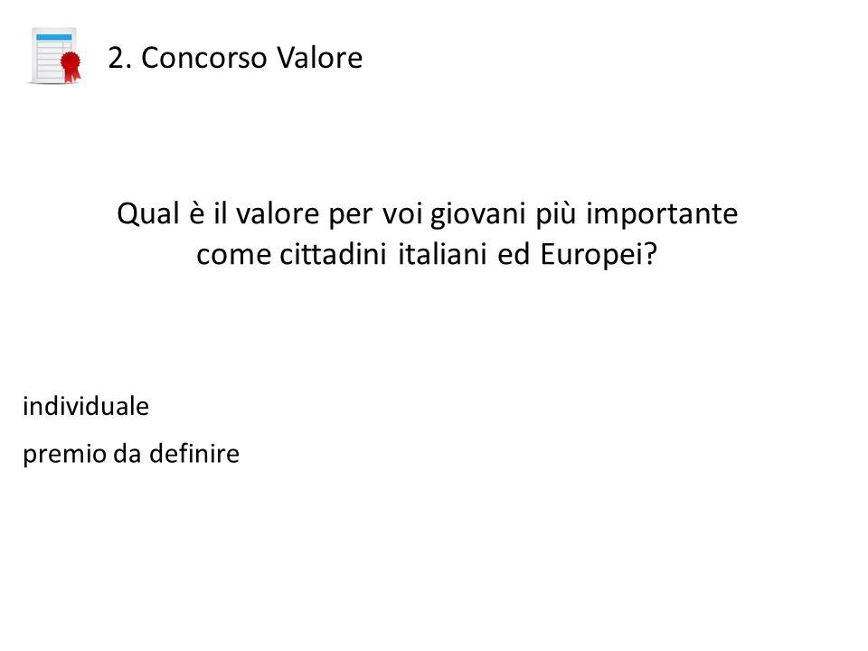 2. Concorso Valore Qual è il valore per voi giovani più importante come cittadini italiani ed Europei