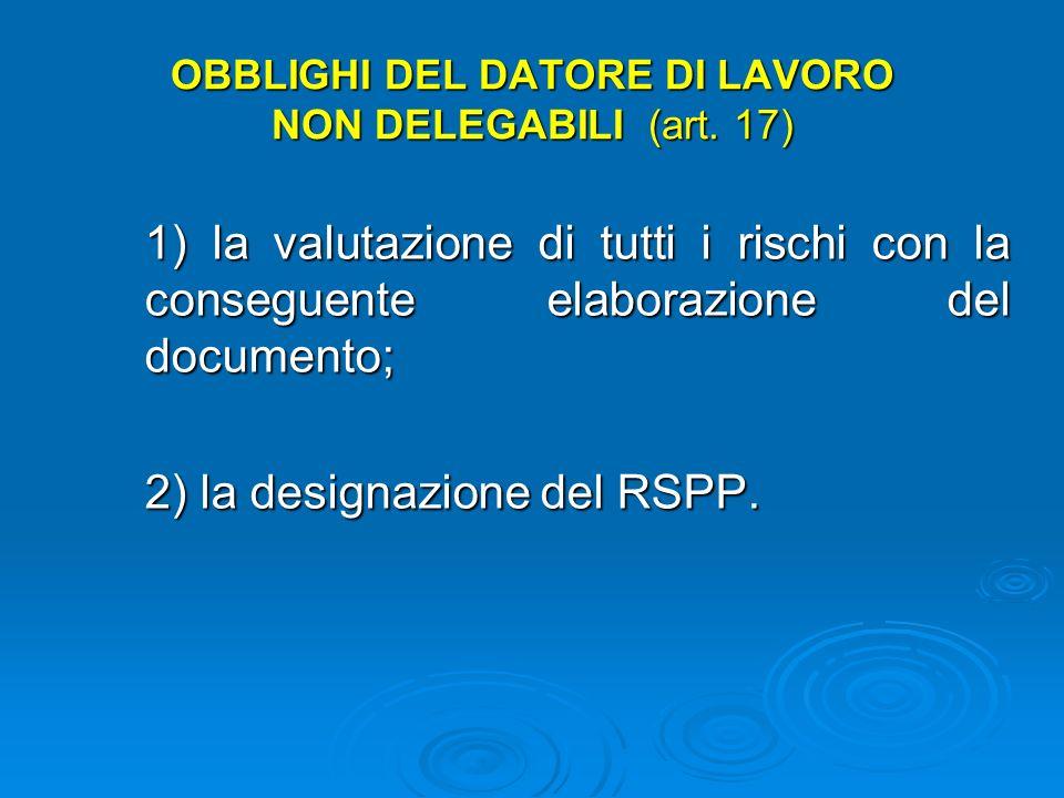 OBBLIGHI DEL DATORE DI LAVORO NON DELEGABILI (art. 17)