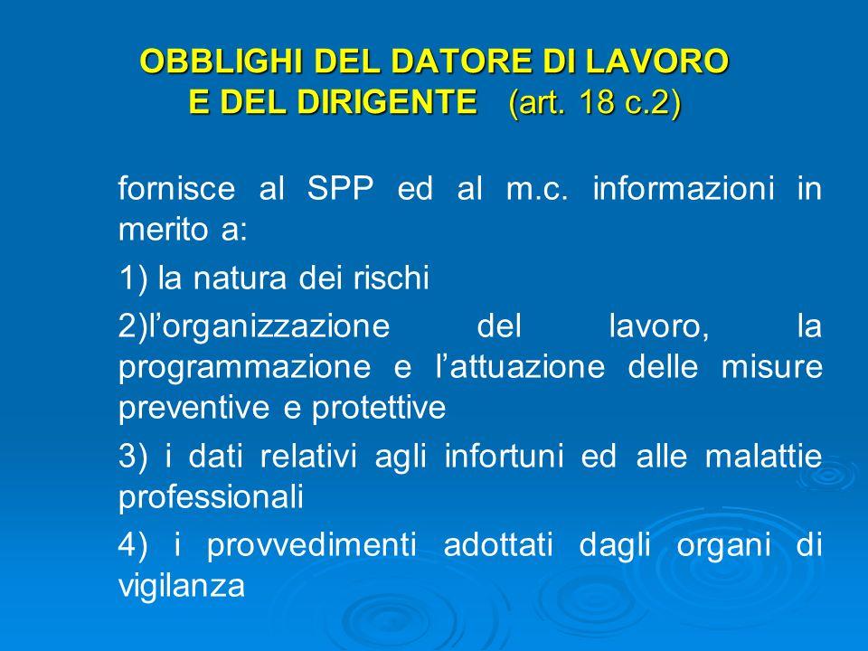OBBLIGHI DEL DATORE DI LAVORO E DEL DIRIGENTE (art. 18 c.2)