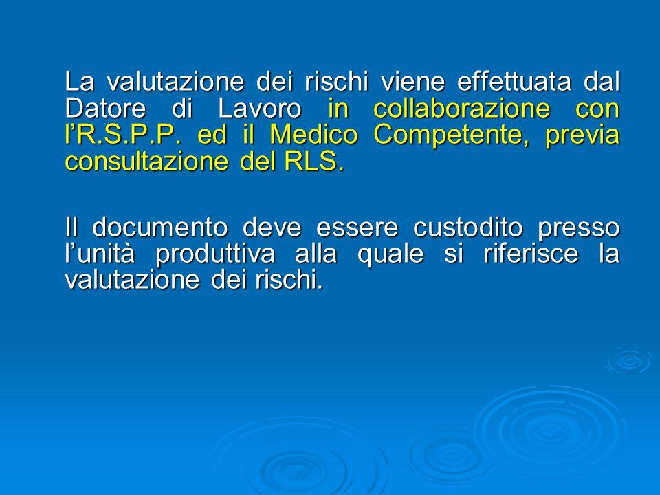 La valutazione dei rischi viene effettuata dal Datore di Lavoro in collaborazione con l'R.S.P.P.