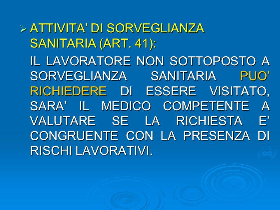 ATTIVITA' DI SORVEGLIANZA SANITARIA (ART. 41):