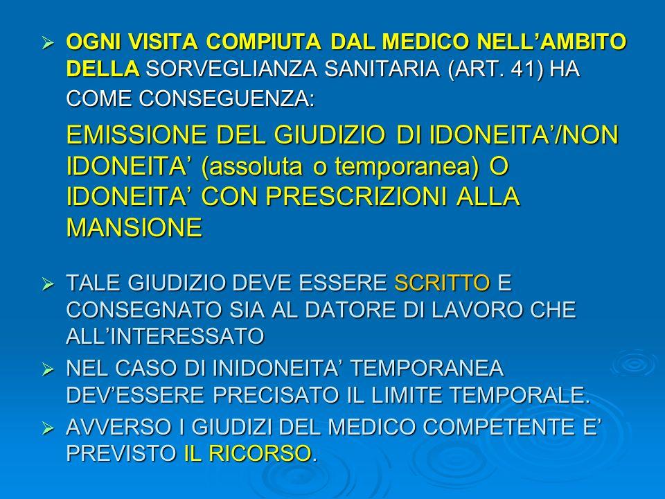 OGNI VISITA COMPIUTA DAL MEDICO NELL'AMBITO DELLA SORVEGLIANZA SANITARIA (ART. 41) HA COME CONSEGUENZA: