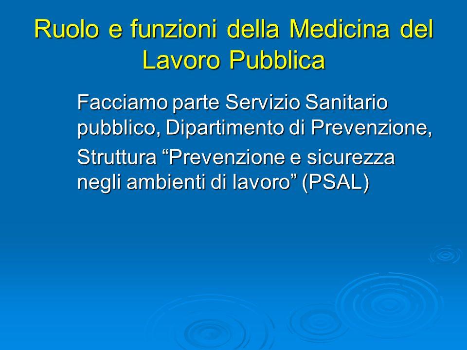 Ruolo e funzioni della Medicina del Lavoro Pubblica