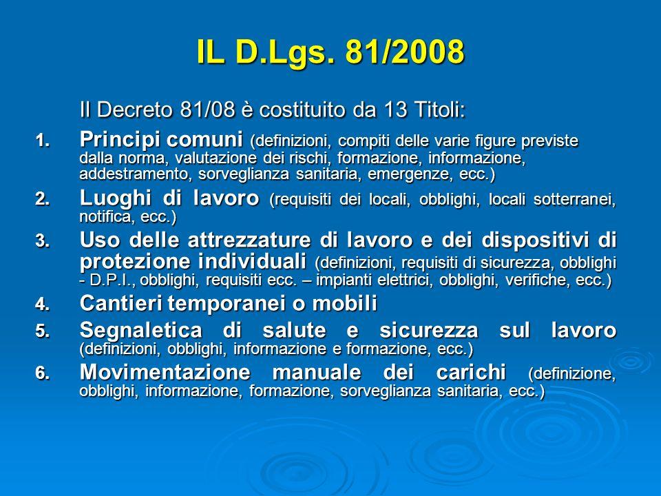 Il Decreto 81/08 è costituito da 13 Titoli: