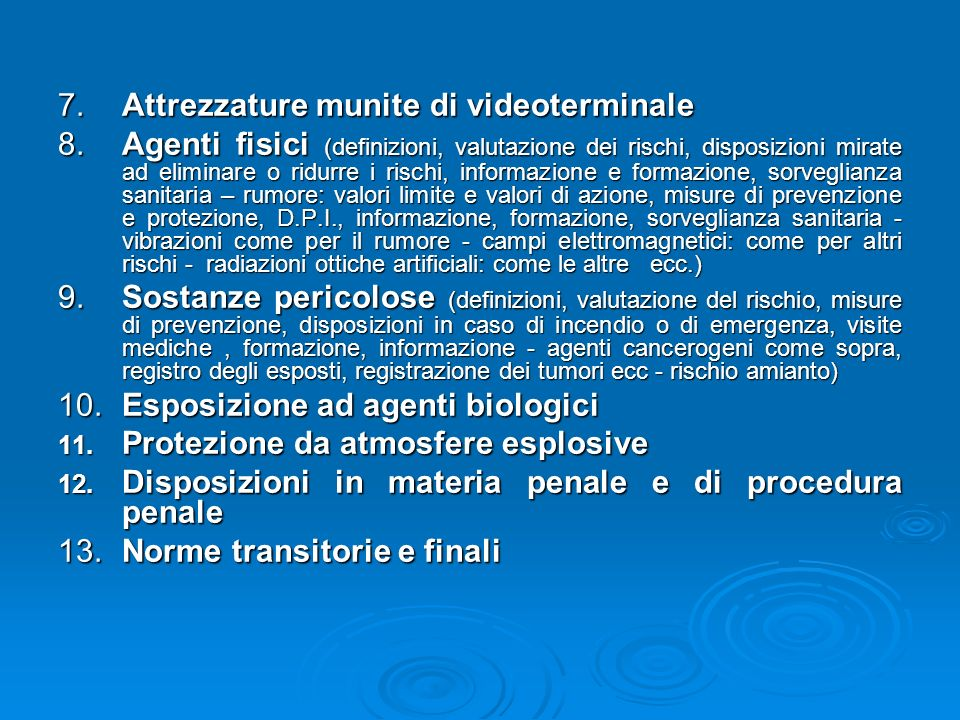 7. Attrezzature munite di videoterminale