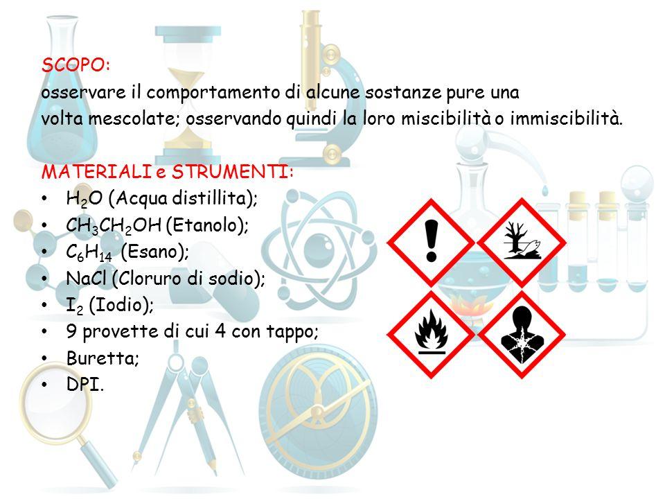 SCOPO: osservare il comportamento di alcune sostanze pure una. volta mescolate; osservando quindi la loro miscibilità o immiscibilità.