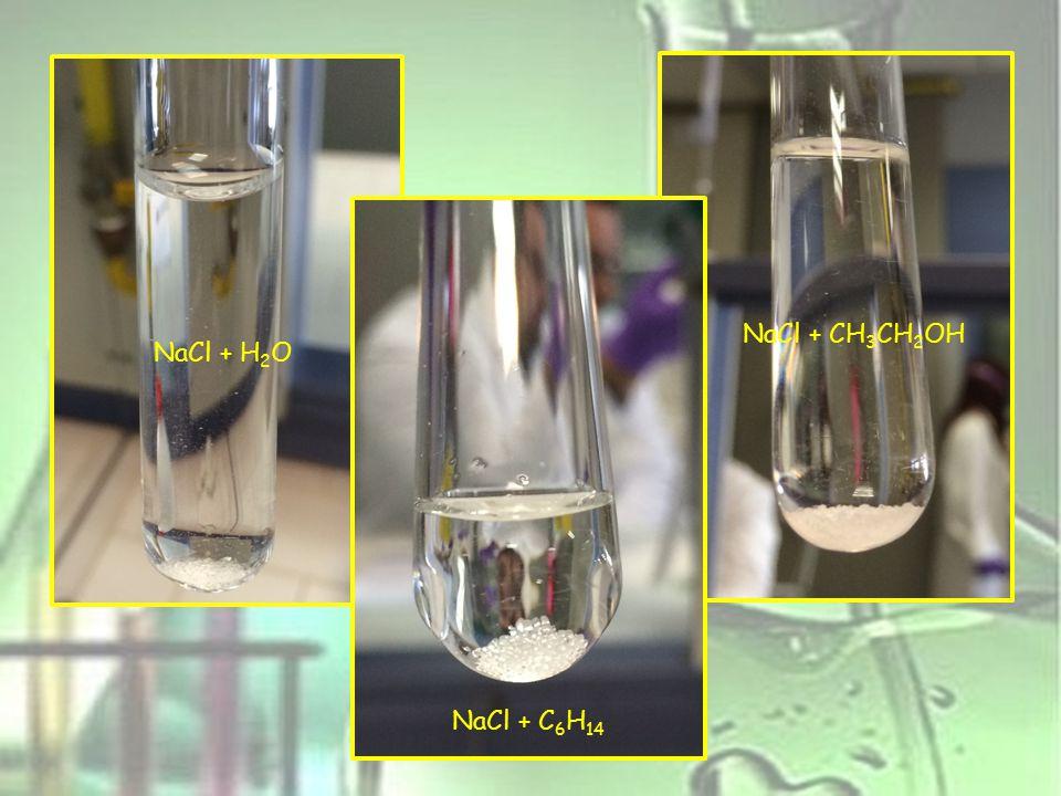 NaCl + CH3CH2OH NaCl + H2O NaCl + C6H14