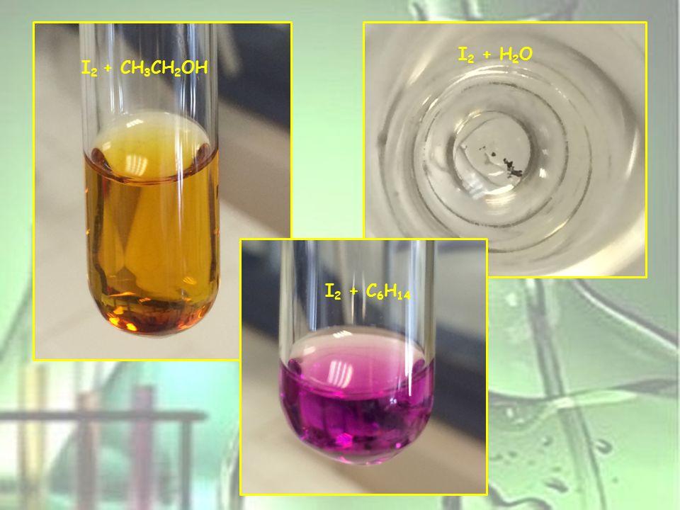 I2 + H2O I2 + CH3CH2OH I2 + C6H14