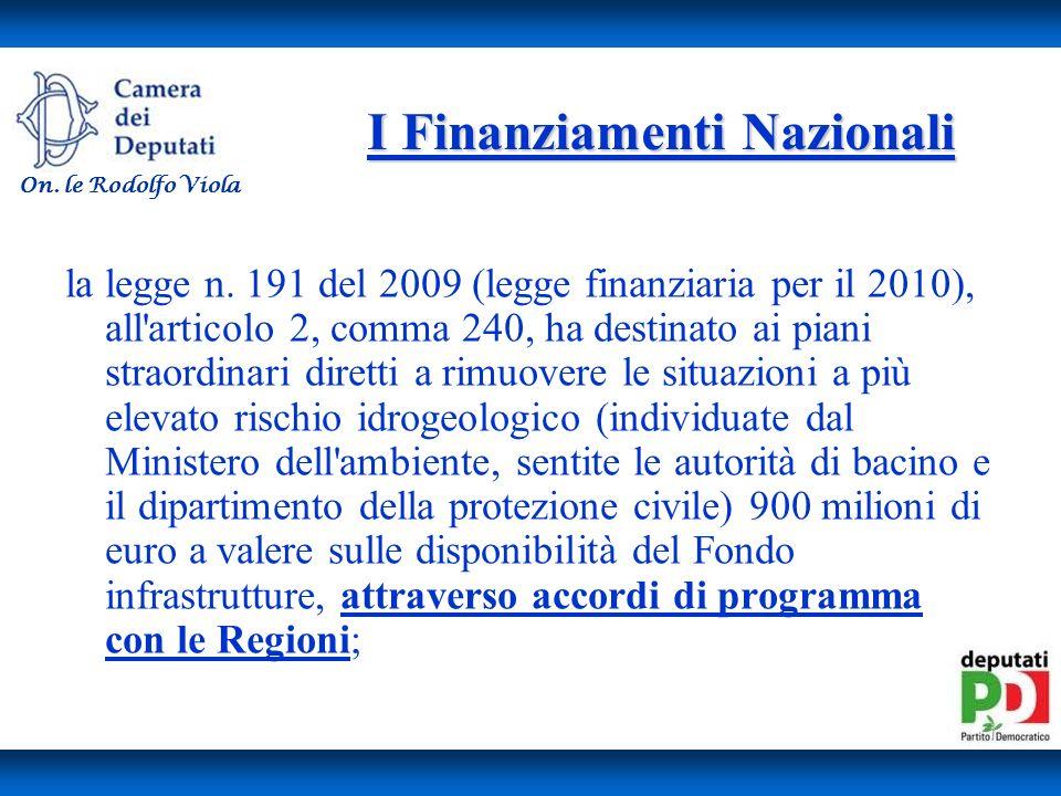 I Finanziamenti Nazionali