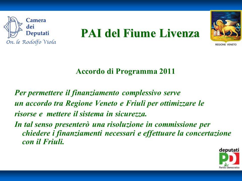 PAI del Fiume Livenza Accordo di Programma 2011