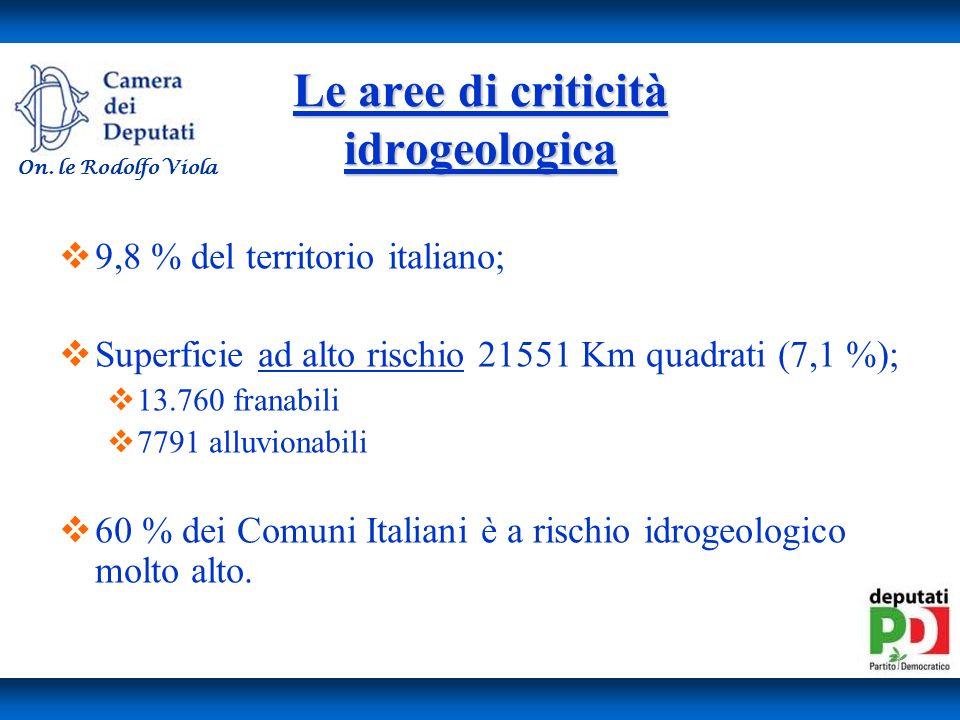 Le aree di criticità idrogeologica
