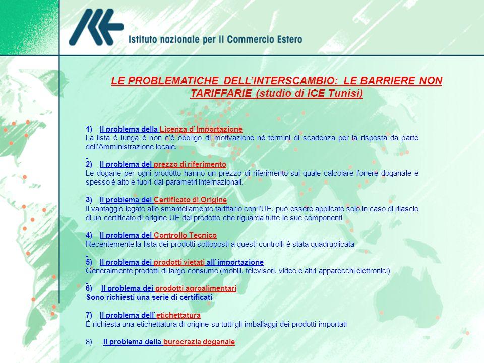 LE PROBLEMATICHE DELL'INTERSCAMBIO: LE BARRIERE NON TARIFFARIE (studio di ICE Tunisi) 1) Il problema della Licenza d`Importazione.