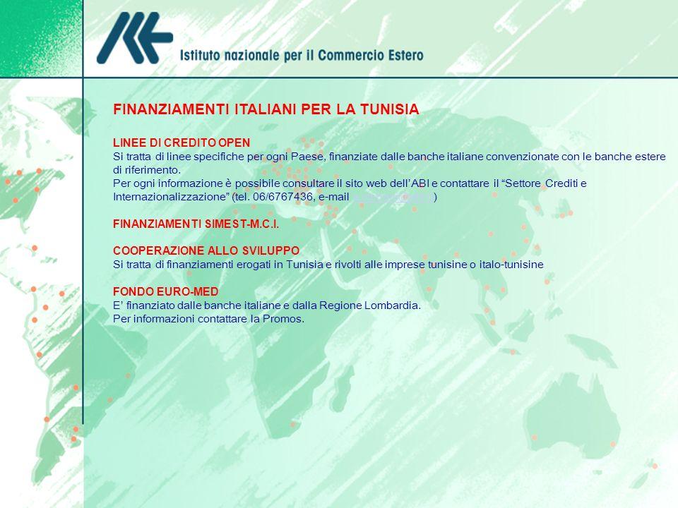 FINANZIAMENTI ITALIANI PER LA TUNISIA