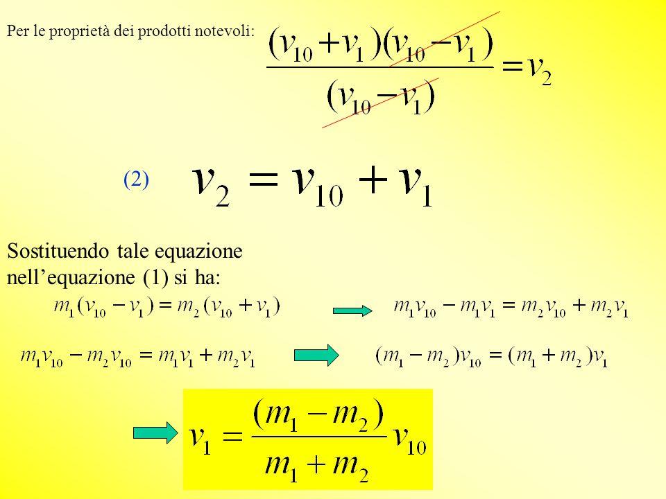 Sostituendo tale equazione nell'equazione (1) si ha: