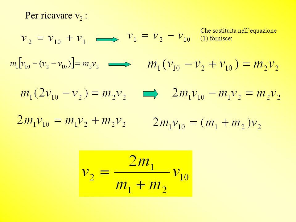 Per ricavare v2 : Che sostituita nell'equazione (1) fornisce: