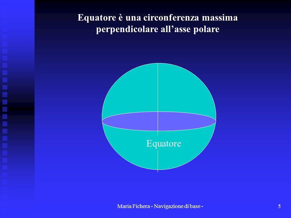 Equatore è una circonferenza massima perpendicolare all'asse polare