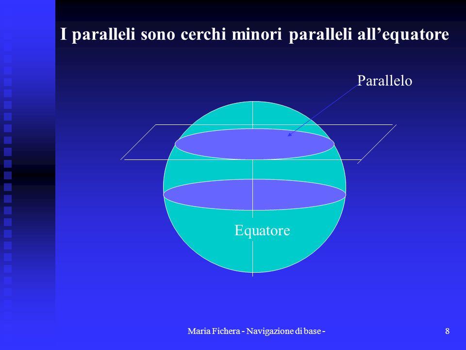 I paralleli sono cerchi minori paralleli all'equatore