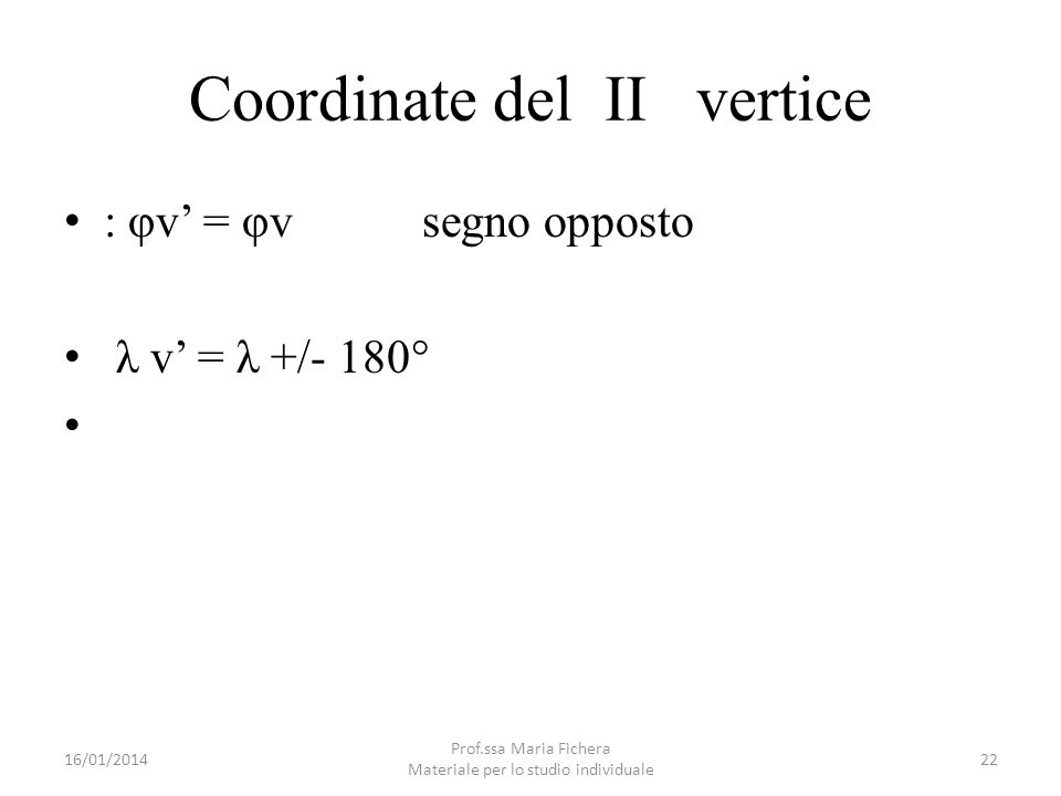 Coordinate del II vertice