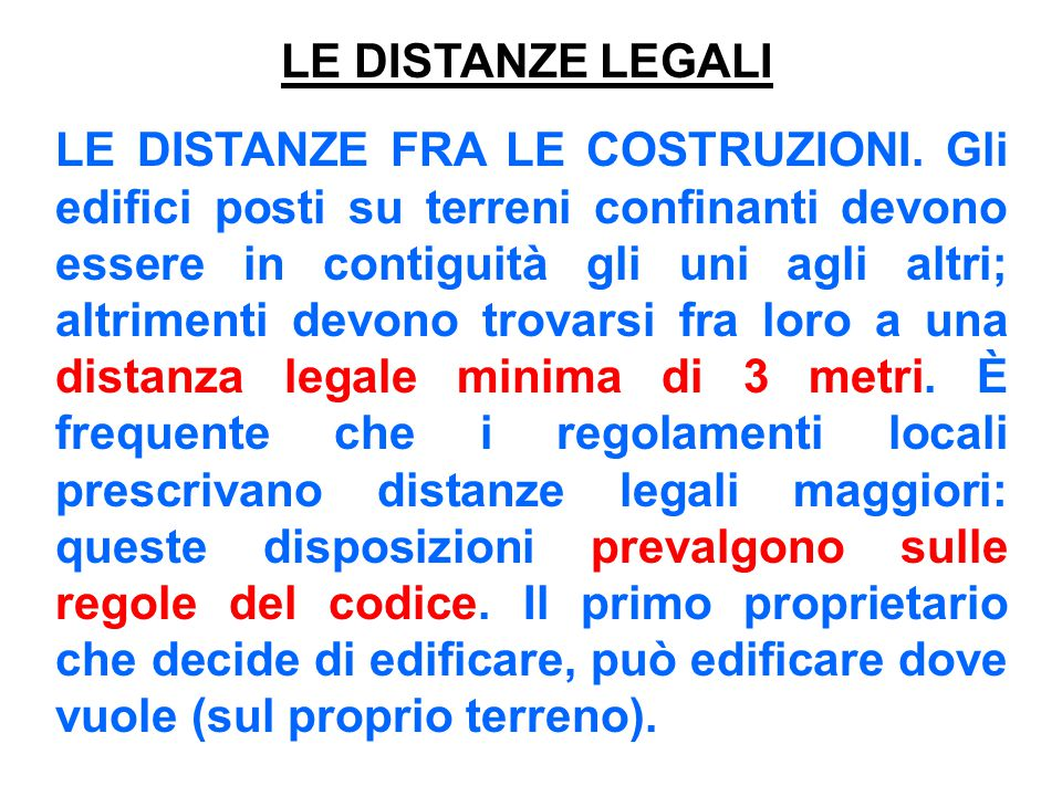LE DISTANZE LEGALI