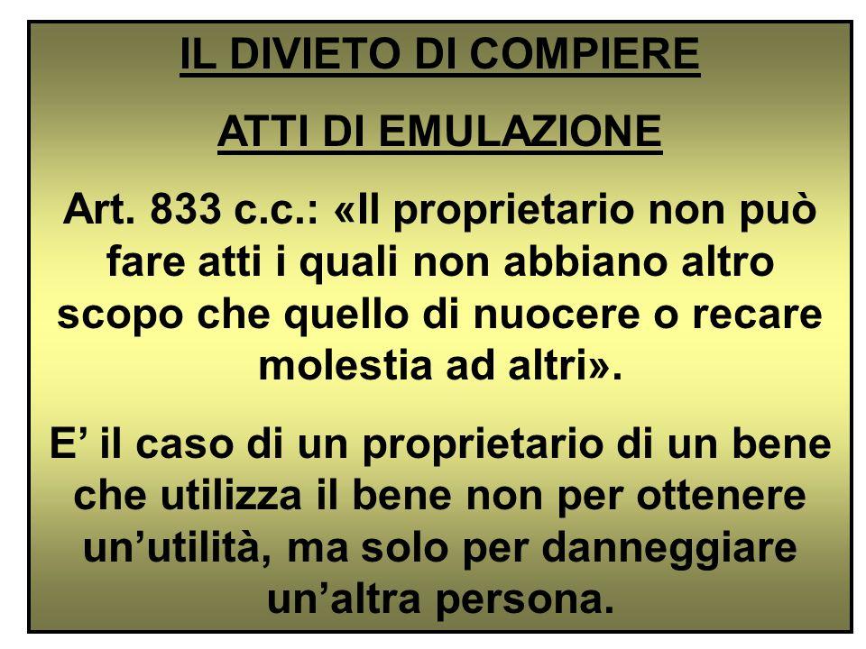 IL DIVIETO DI COMPIERE ATTI DI EMULAZIONE.
