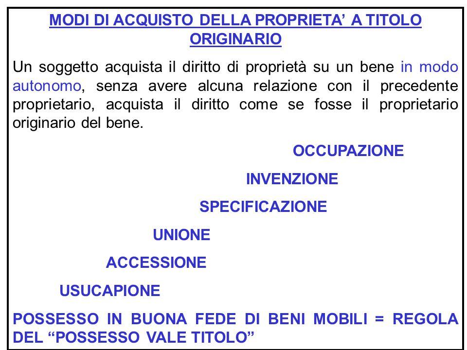 MODI DI ACQUISTO DELLA PROPRIETA' A TITOLO ORIGINARIO