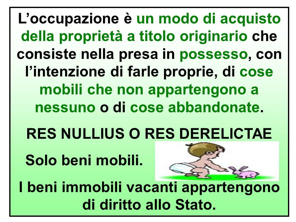 RES NULLIUS O RES DERELICTAE Solo beni mobili.