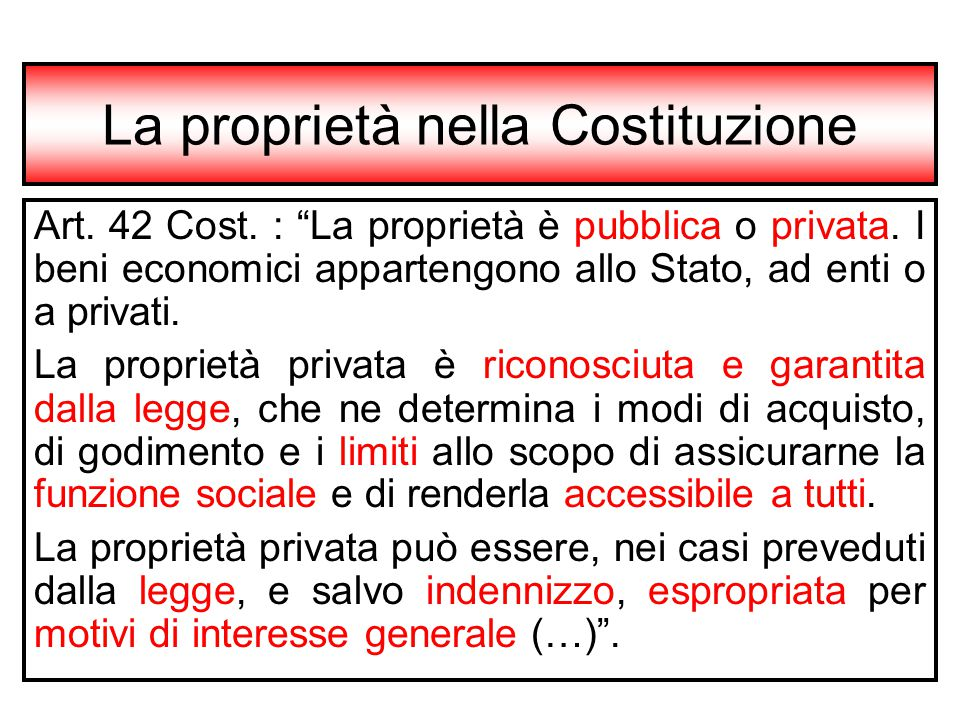 La proprietà nella Costituzione