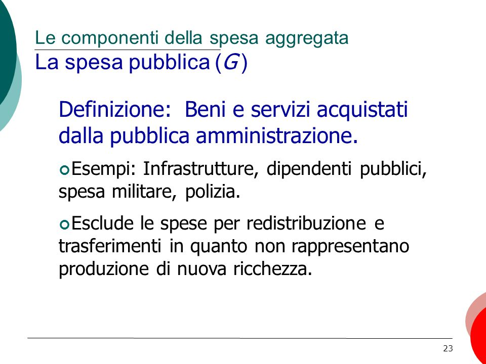 Le componenti della spesa aggregata La spesa pubblica (G )