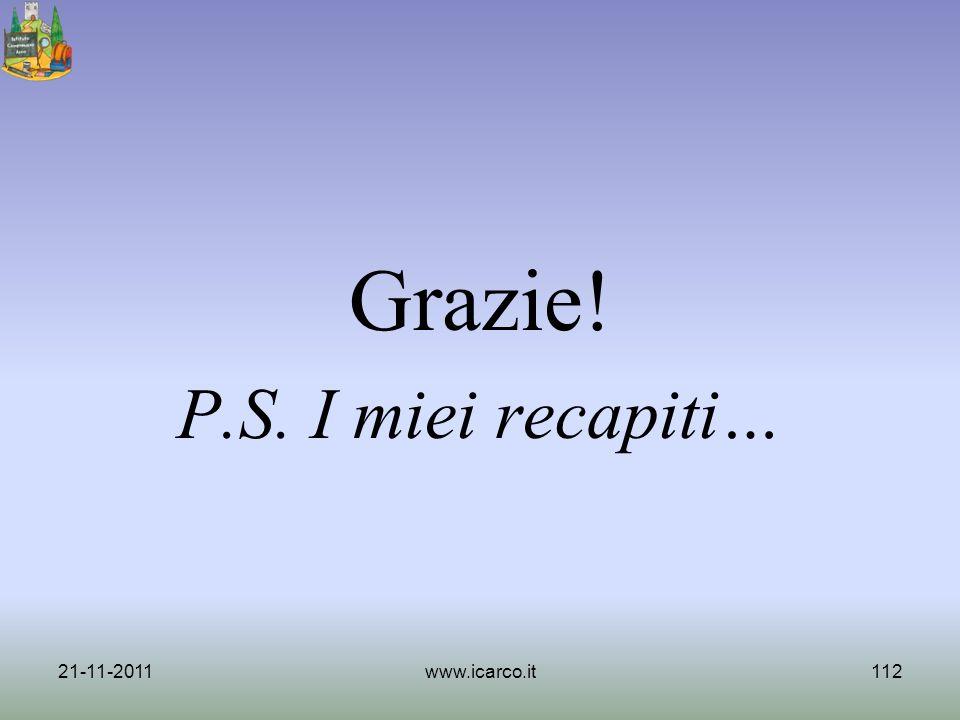 Grazie! P.S. I miei recapiti… 21-11-2011 www.icarco.it