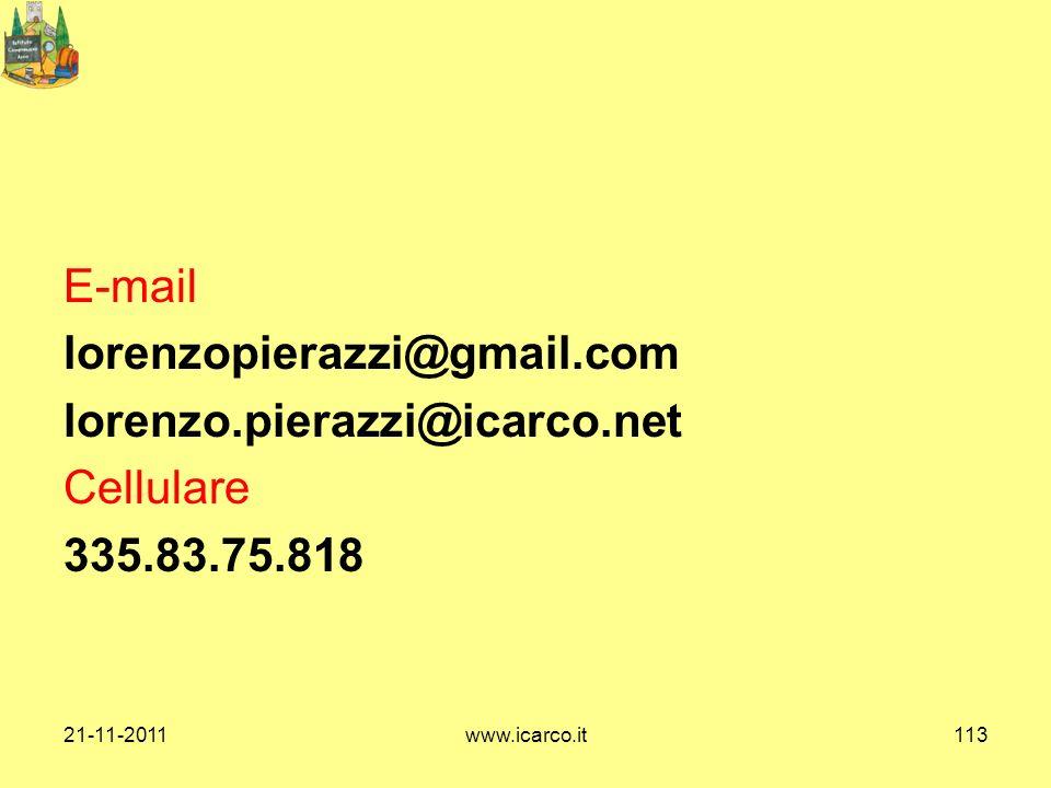 E-mail lorenzopierazzi@gmail. com lorenzo. pierazzi@icarco