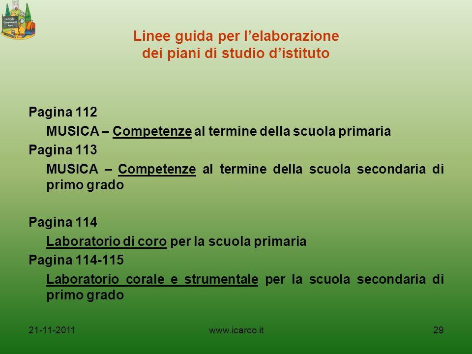 Linee guida per l'elaborazione dei piani di studio d'istituto