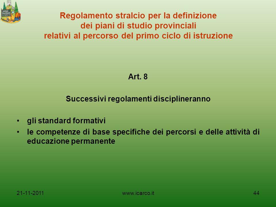 Successivi regolamenti disciplineranno