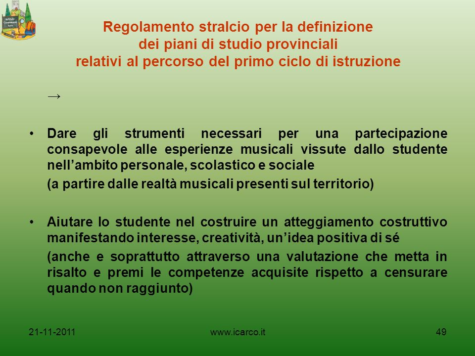 Regolamento stralcio per la definizione dei piani di studio provinciali relativi al percorso del primo ciclo di istruzione