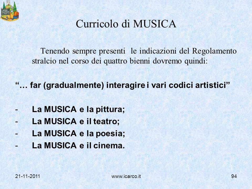 Curricolo di MUSICA Tenendo sempre presenti le indicazioni del Regolamento stralcio nel corso dei quattro bienni dovremo quindi: