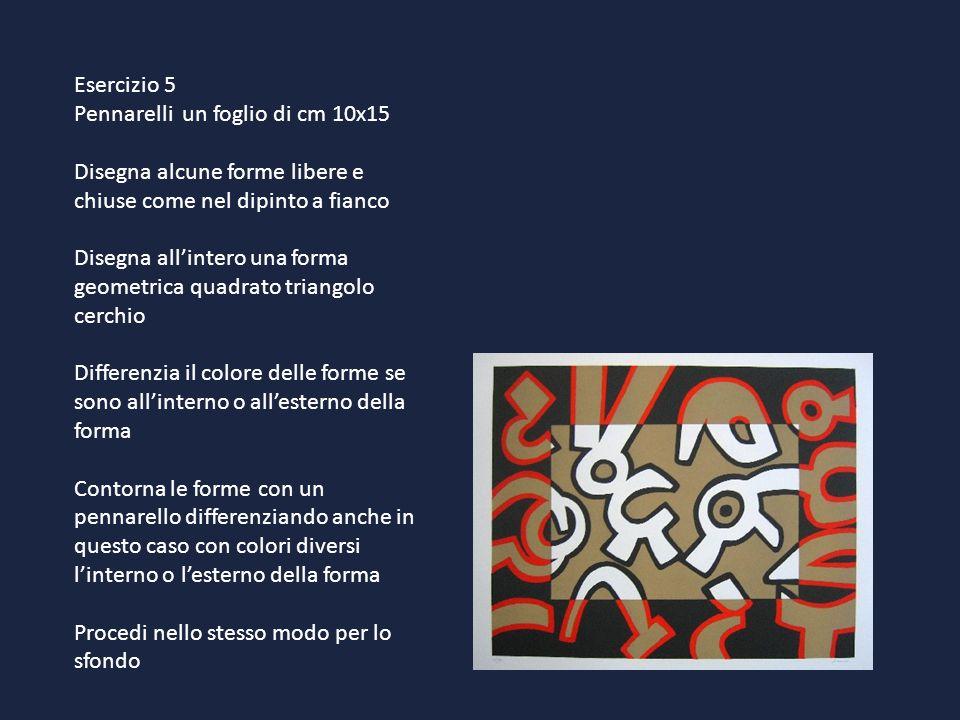 Esercizio 5Pennarelli un foglio di cm 10x15. Disegna alcune forme libere e chiuse come nel dipinto a fianco.