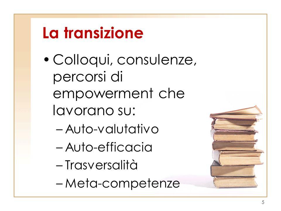 La transizione Colloqui, consulenze, percorsi di empowerment che lavorano su: Auto-valutativo. Auto-efficacia.