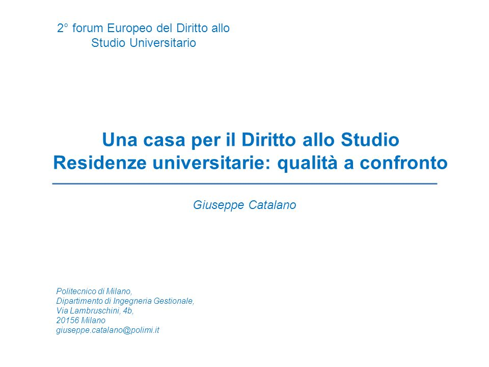 2° forum Europeo del Diritto allo Studio Universitario