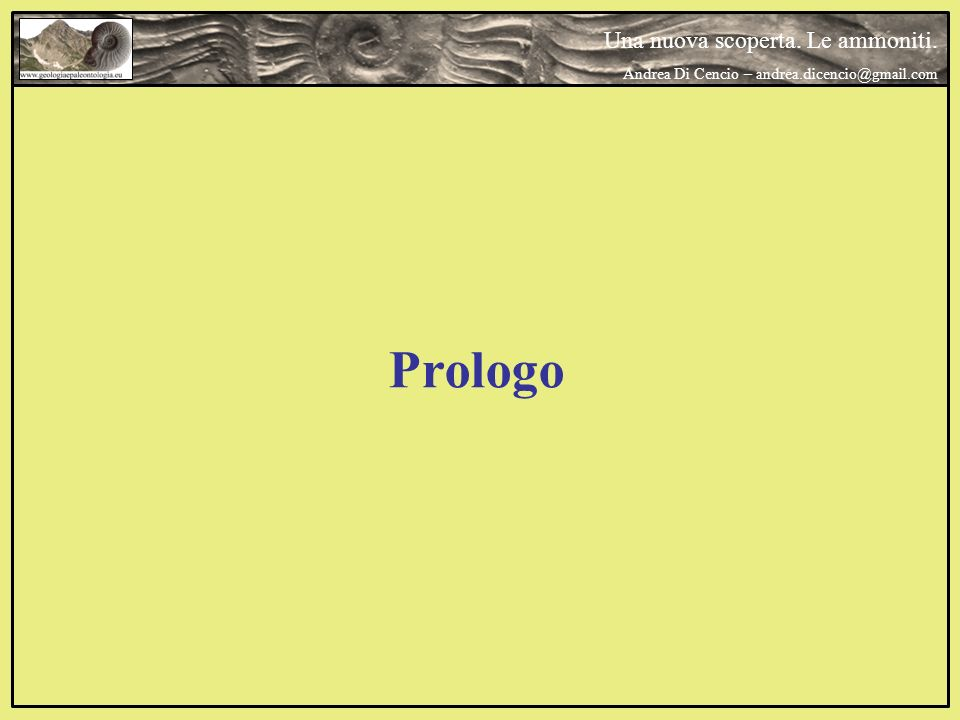 Prologo Una nuova scoperta. Le ammoniti.